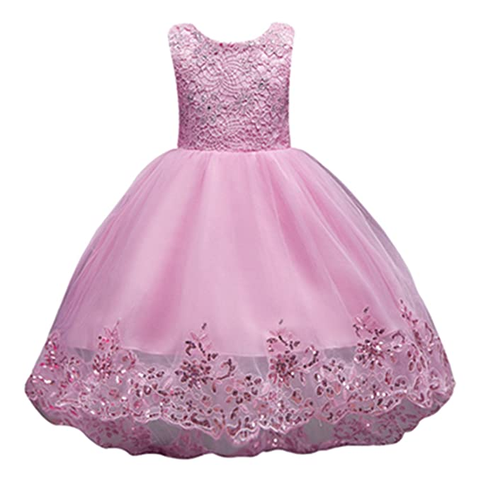 3b51b57772fd Ygosoon Lovely Pink Lace Flower Girl Dresses Sequin Tulle Dresses Ball Gown  Kids Pageant Dresses for