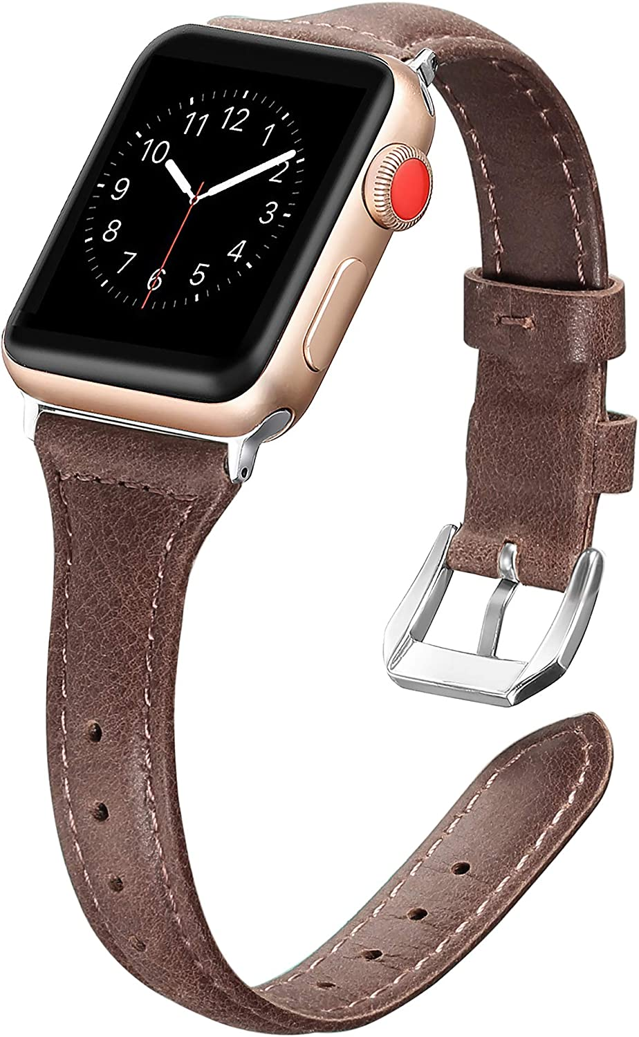 Secbolt Leather Compatible with Apple Watch Band 42mm 44mm Slim Replacement Wristband Sport Strap for Iwatch Series 6 5 4 3 2 1 Stainless Steel Buckle, Coffee