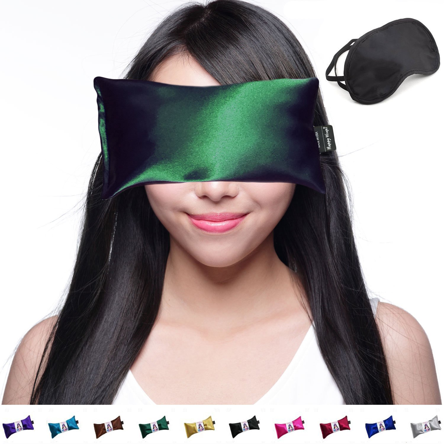 Hot Cold Lavender Eye Pillow and Eye Mask for Sleep, Yoga, Migraine Headaches, Stress Relief. By Happy Wraps - Emerald