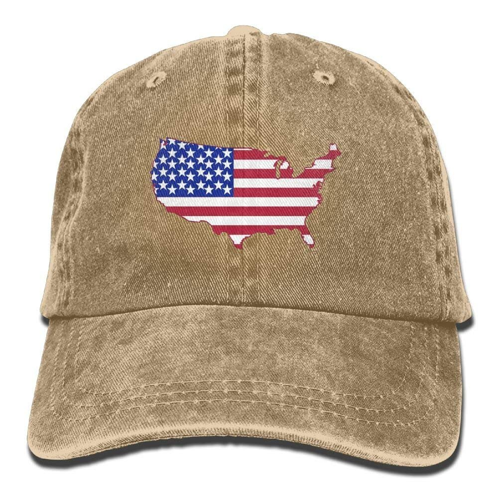 HATS NEW American Flag USA Shape Vintage Washed Dyed Adjustable Cowboy Cap