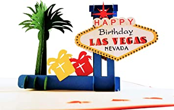 iGifts And Cards Unique Happy Birthday Red Cover Las Vegas 3D Pop Up Greeting Card - Fun, Special Occasion, Congratulations, Celebration, Feliz ...