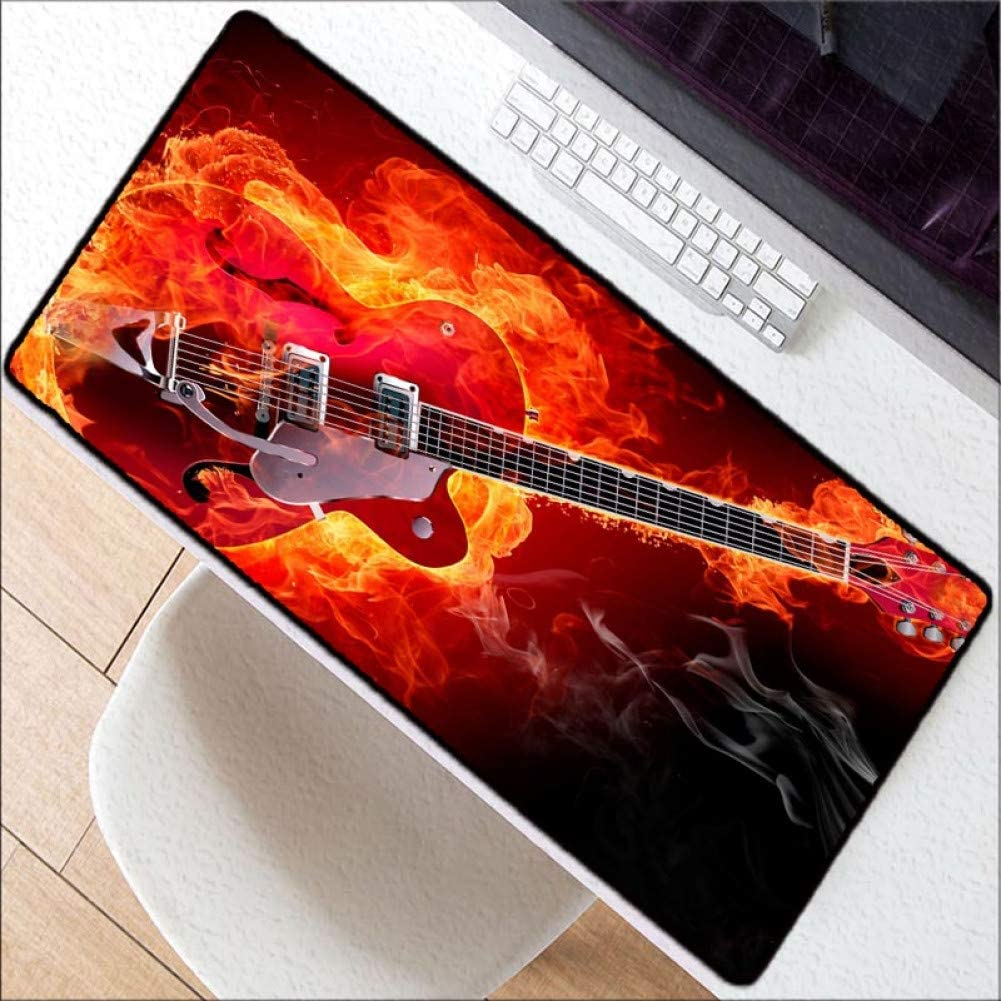 WHFDSBDCool Guitar Large Gaming Lock Edge Mouse Mat Keyboard Pad Desk Mat Table Mat Gamer Mousepad for Laptop Notebook LOL