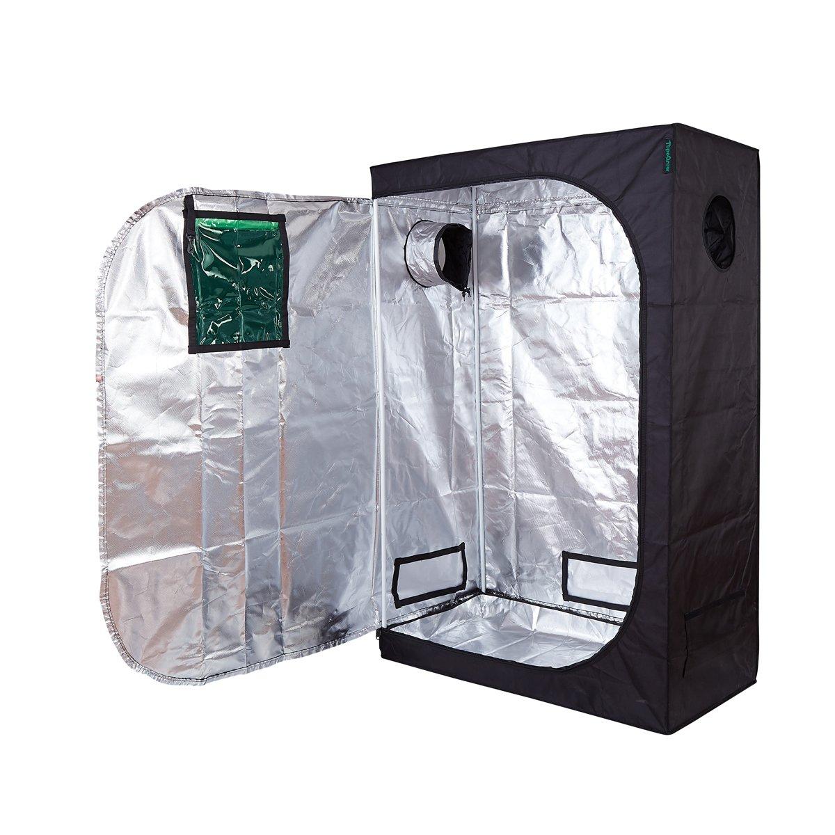 TopoGrow 48''X24''X72'' Indoor Tent Room Reflective Mylar Hydroponic Non Grow Toxic Hut W/Metal Corners&Green Window