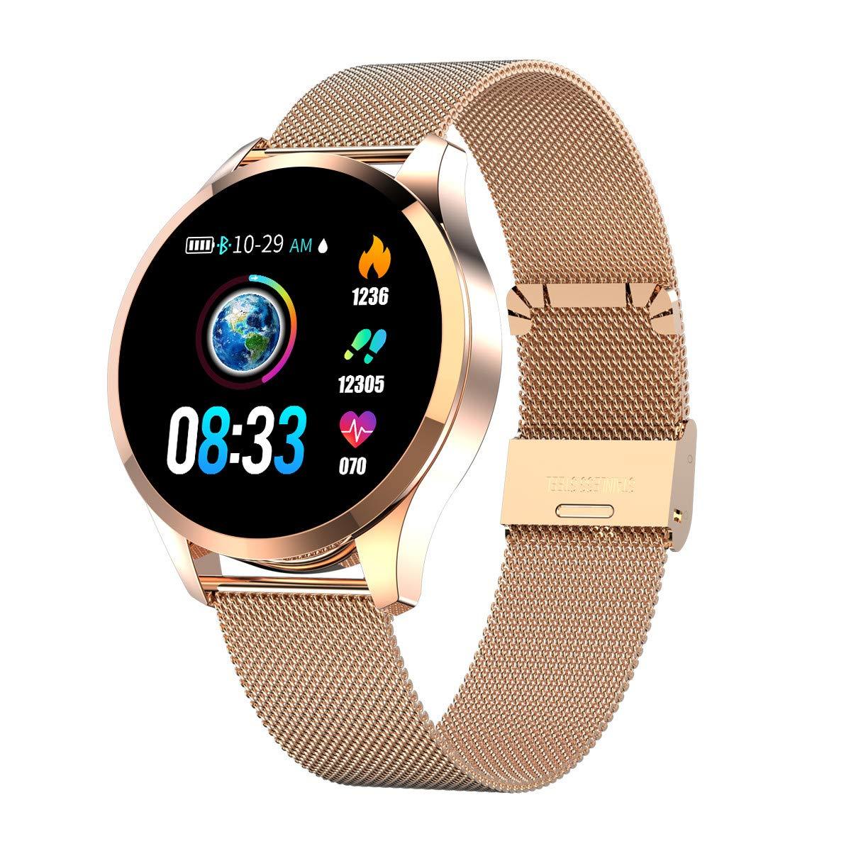 Smartwatch Mujer Hombre, Impermeable Reloj Inteligente Elegante Monitores de Actividad Impermeable IP67 con Monitor de Sueño Pulsómetros Podómetro ...