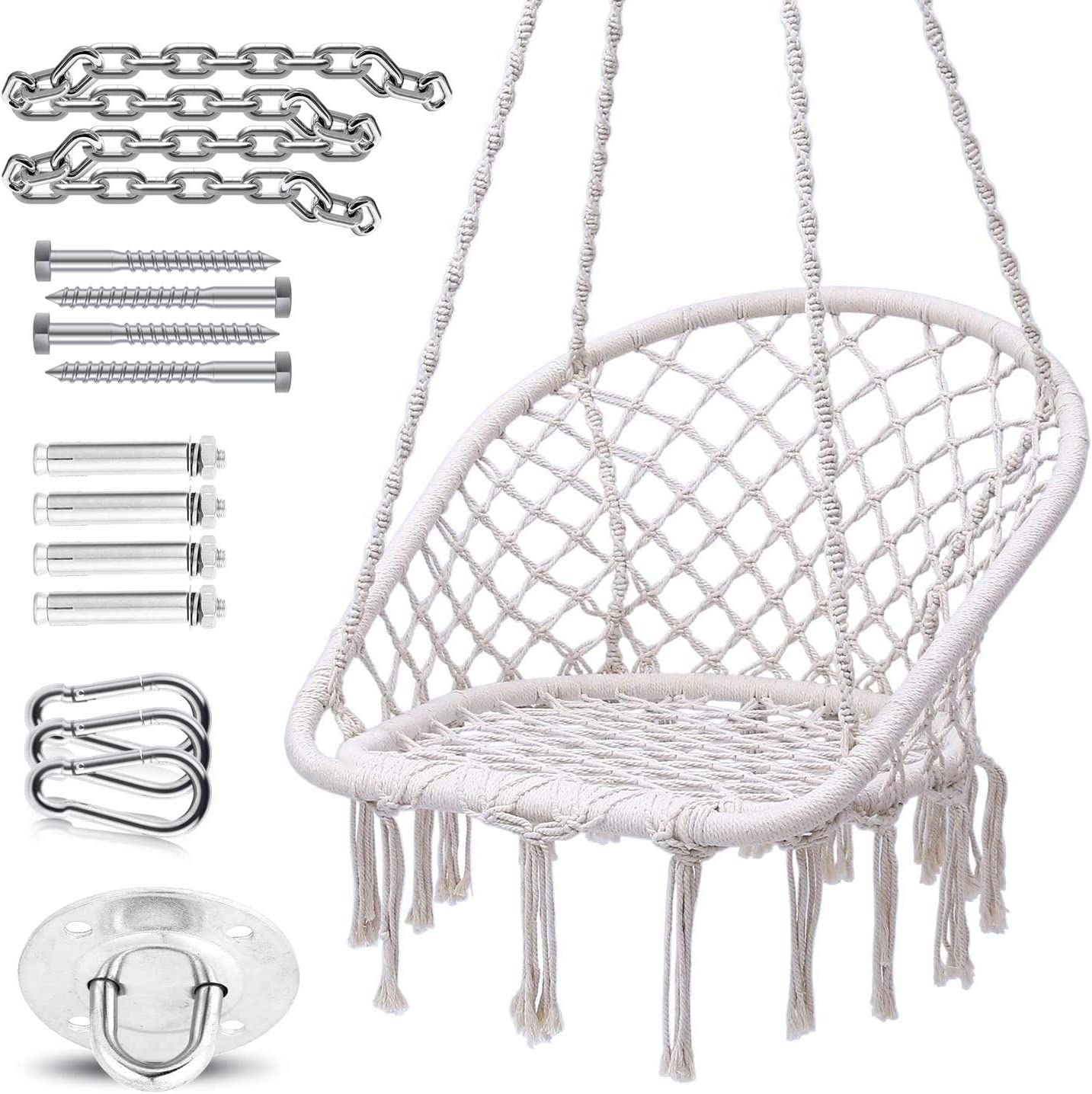 Ohuhu Hammock Chair Macrame Swing, 2020 All New Ergonomic Design Semicircle Shape Hanging Hammock Chair with Durable Hanging Hardware Kit, Max 330 Lbs Capacity, 100 Cotton Rope Indoor Swing Chairs