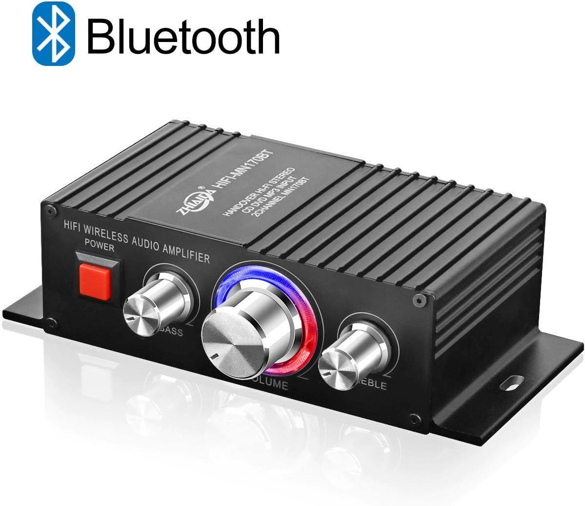TTMOW Mini Amplificador Bluetooth 4.2 Digital 100W (2 x 50W) HiFi Audio Amp Super Bass para Tablet PC Portátiles Smartphone Auto Coche MP3 MP4 Altavoces (No Incluye el Adaptador, DC12-24V, 5-10A)