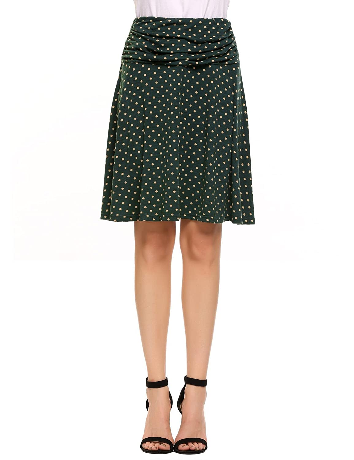 Meaneor Women Ruched Fold Over Waist Polka Dot Stretchy Casual Flared Skirt #MAH014481