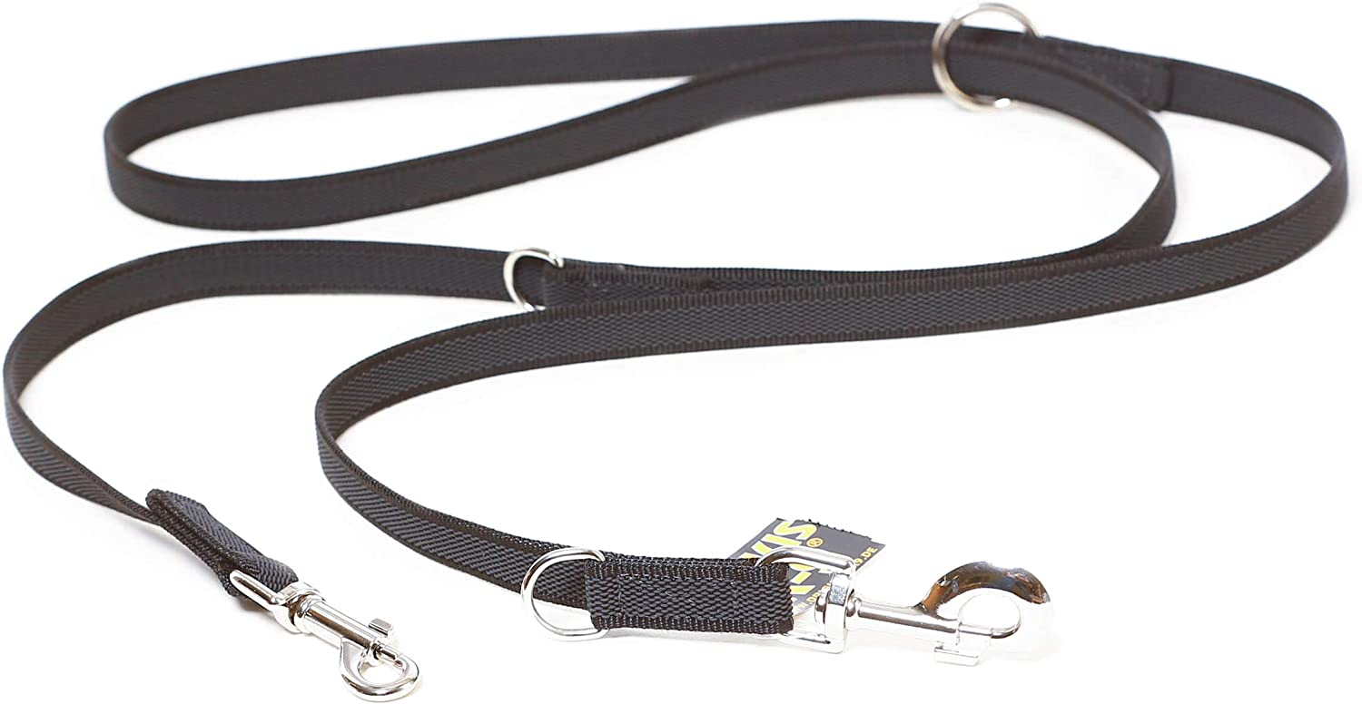 Julius-K9 216GM-DP Color & Gray Correa de Perro del Estupendo-Apretón, 20 mm x 2.2 m, Ajustable, Negro y Gris