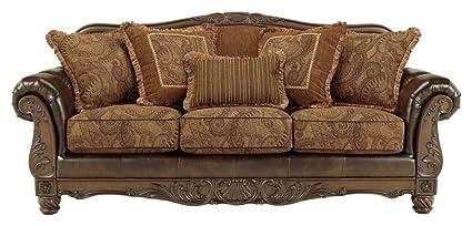 Ashley Furniture Signature Design   Mellwood Leather Sofa   Traditional    Walnut