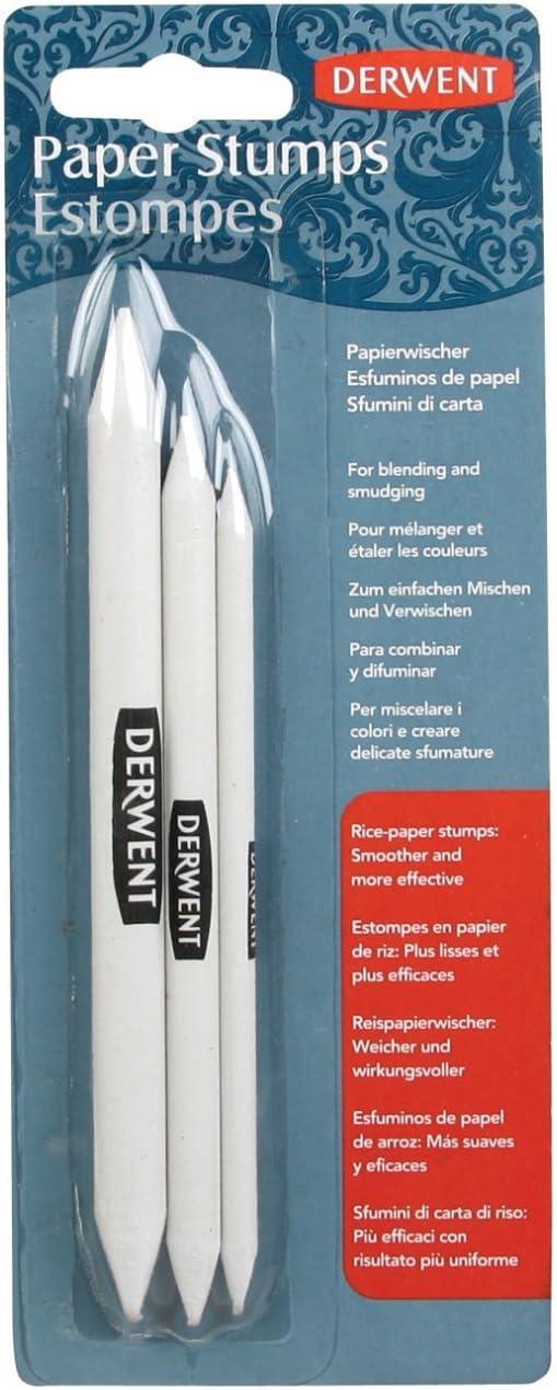 qualit/é professionnelle Blanc papier de riz Derwent 2300561/Lot de 3/estompes