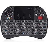 Ewin® [新型] ミニ キーボード JIS配列 ワイヤレス式 2.4GHz 無線 マウスホイール付き タッチパッド搭載 マウスセット一体型 超小型 多機能ボタン USBレシーバー付き バックライト8色自由変更 Amazon fire TV、PS3、PS4、PS4 Pro、Raspberry PI、TV Box、Pro、HTPC、Google Smart TV、Andriod Smart TV、IPTV、Laptop、PC、Pad等対応Mini Keyboard 【日本語説明書&1年保証付き】