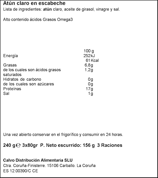Calvo - Atún Claro Escabeche, Pack 3 x 80 g - [pack de 4]: Amazon ...