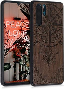 kwmobile 1x Funda de Madera Madera de Nogal Compatible con Huawei P30 Carcasa Live Love Laugh