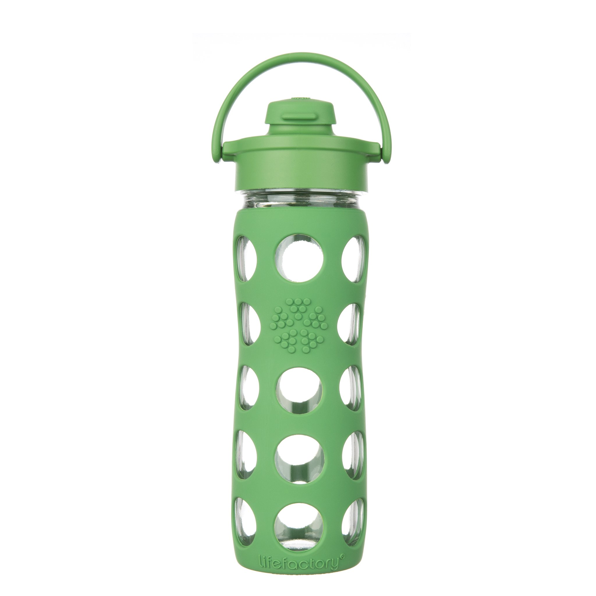 Lifefactory 16-Ounce BPA-Free Glass Water Bottle with Flip Cap and Silicone Sleeve, Grass Green