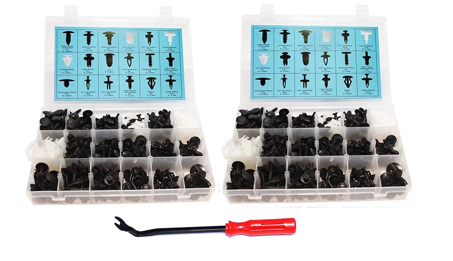 [415 Pcs & 415 Pcs] Auto Push Clips & Fasteners Set, Free Fastener Remover,Great Assortment of Push Type Retainers Fits For GM Ford Toyota Honda Chrysler with Plastic Storage Case