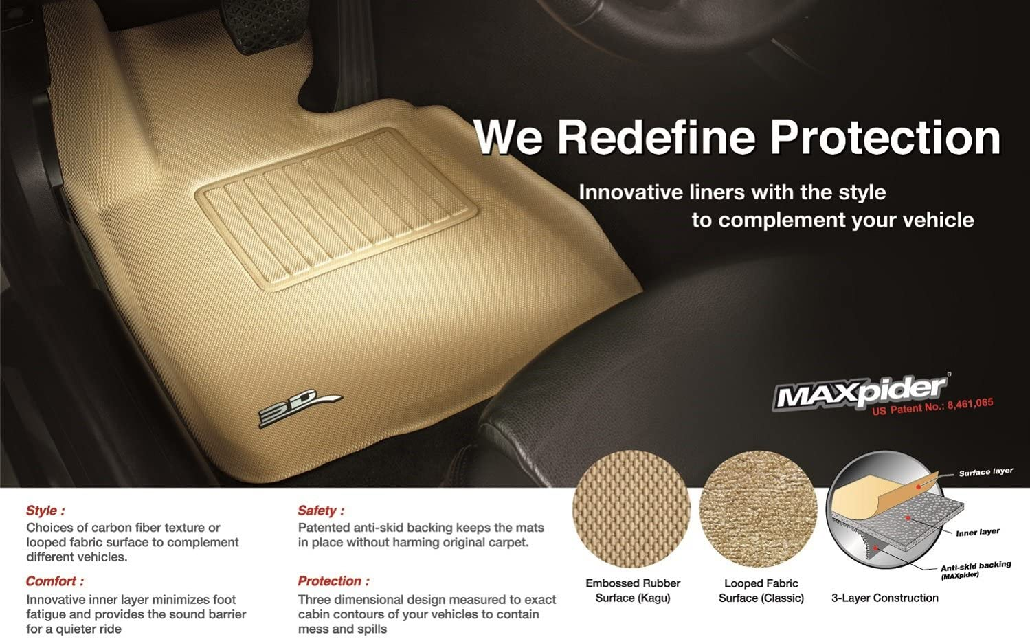 Classic Carpet 3D MAXpider Front Row Custom Fit Floor Mat for Select Ford Flex Models Black