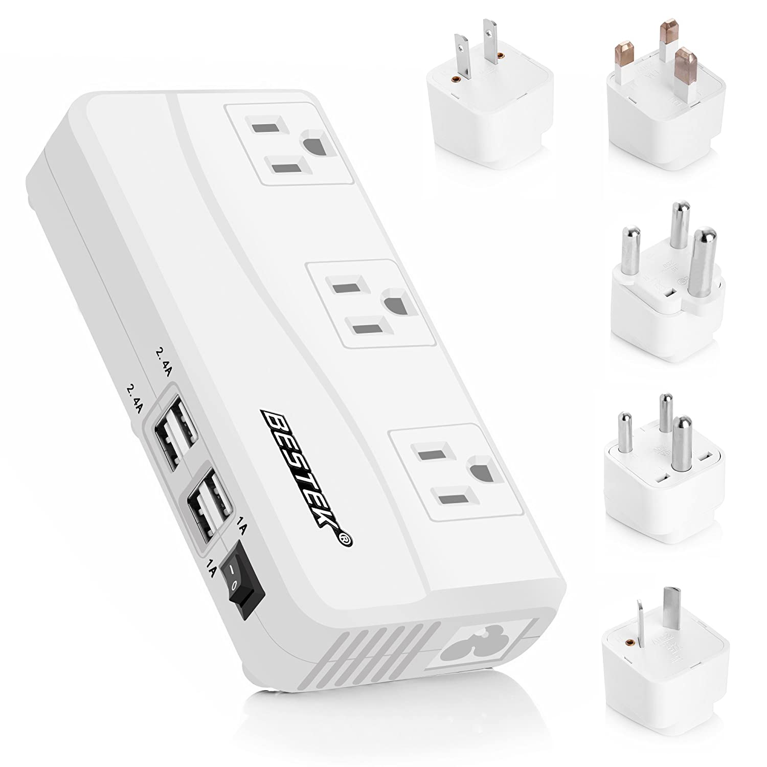 BESTEK International Power Adapter, 220V to 110V Step Down Travel Voltage Converter with 4-Port USB Including US/AU/EU/UK//India/South Africa Plug Adapter, 200W