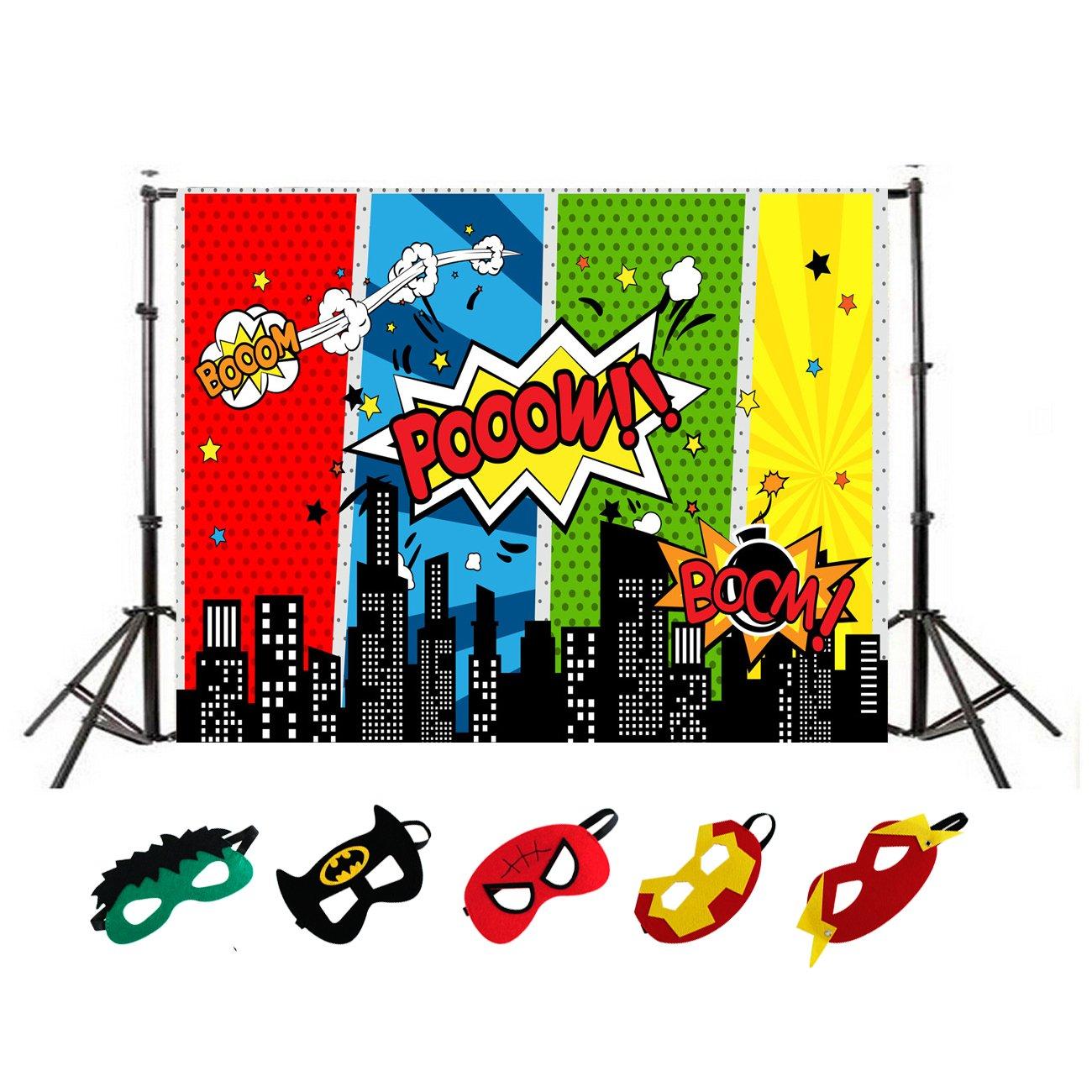 5 x 3ft Superhero City Photography Backdrop and Superhero Masks for Kids Birthday Party Decoration, Studio Superhero Photography Background
