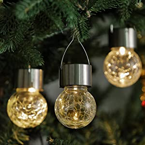 ELYXWORK 8 Pack Hanging Solar Lights Outdoor Yard Decoration, Solar Crackle Globe Hanging Ball Lights Warm White LED Waterproof Outside Solar Lanterns with Handle for Garden, Tree, Patio, Window