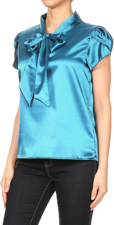 Womens Office Casual Shiny Top Ribbon Neck Sleeveless Cap Shoulder Shirt Fancy Blouse T1637