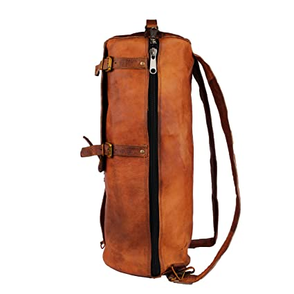 357f4407a4 pranjals house Leather Brown Duffle Backpack  Amazon.in  Bags ...