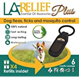 Flea and Tick Control Collar Clip & Mosquito Repellent by La Relief: Includes 4 Refills. All Natural, Therapeutic Grade Essential Oils and DEET-FREE, Safe for ALL Pets.