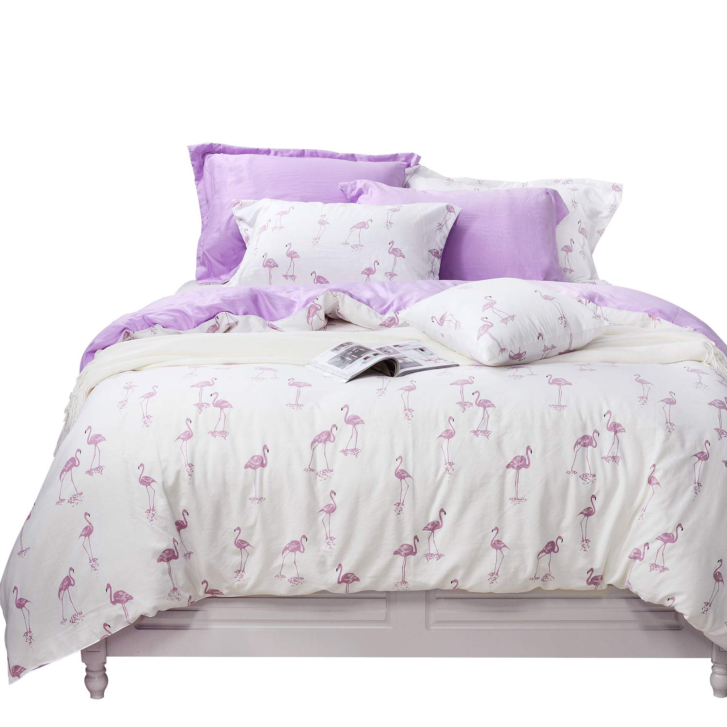 Tealp Flamingo Bedding Sets Soft Washed Cotton Duvet Cover Pink and Purple,3 Piece(1 Duvet Cover + 2 Pillow Shams),Cream White,Queen