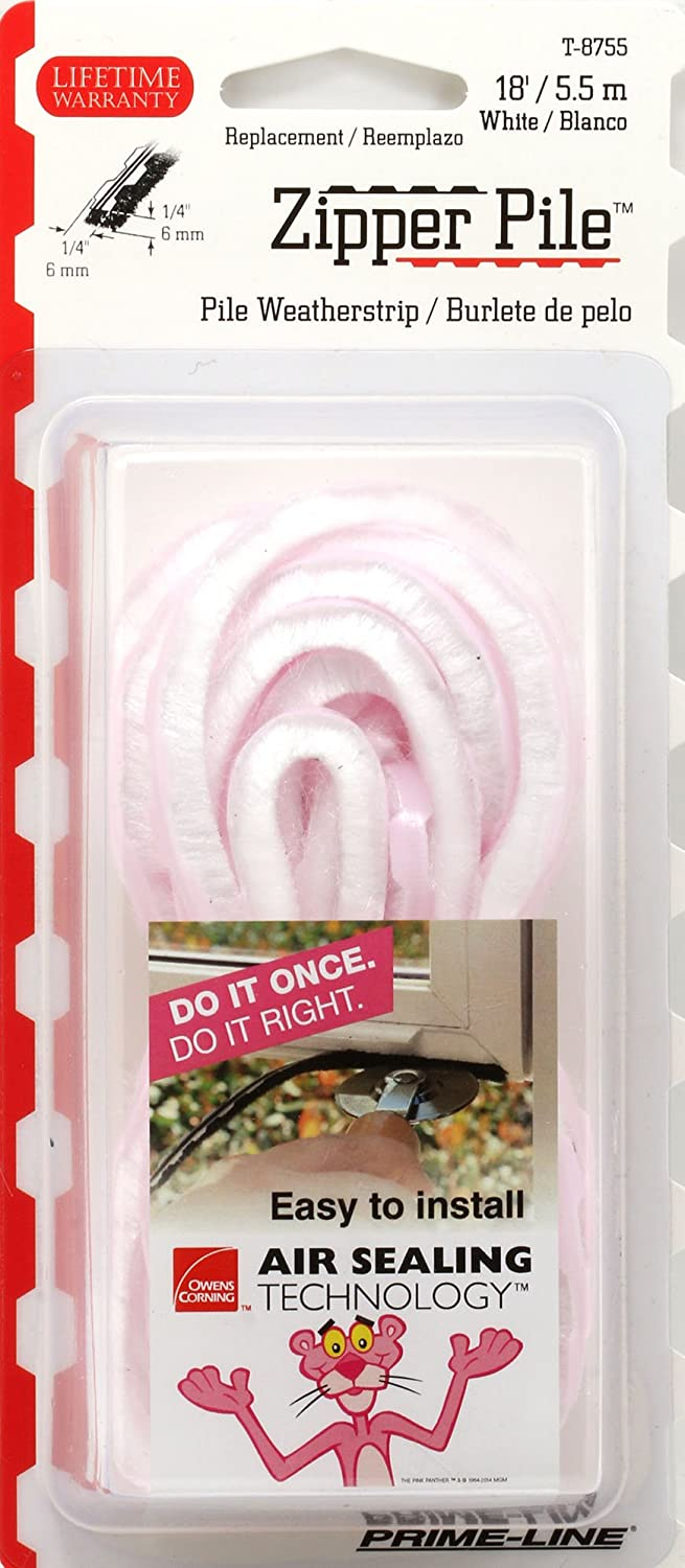 White Prime-Line Products P 8761 Zipper Pile Weatherstrip for Windows /& Doors Owens Corning Non-Adhesive 250 ft.