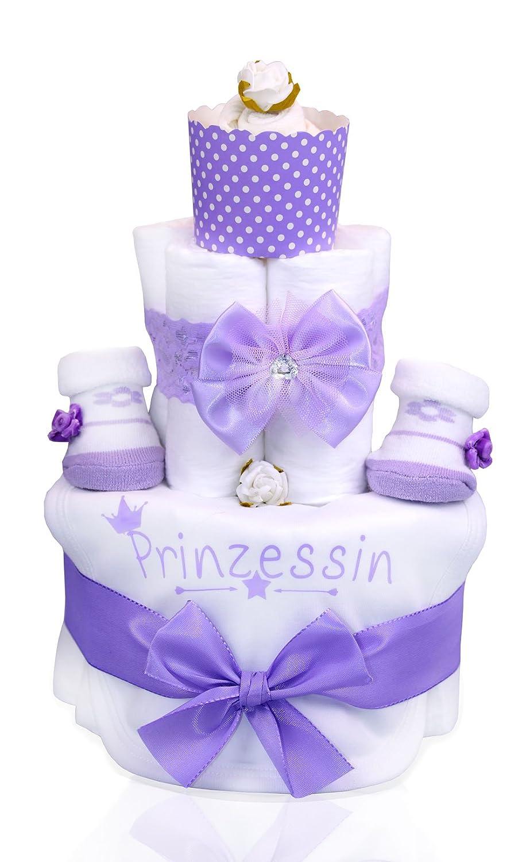 Babygeschenk WINDELTORTE Mädchen lilaPrinzessin1x Baby Lätzchen und 2x Babysocken+ 1x Haarband+Grußkarte