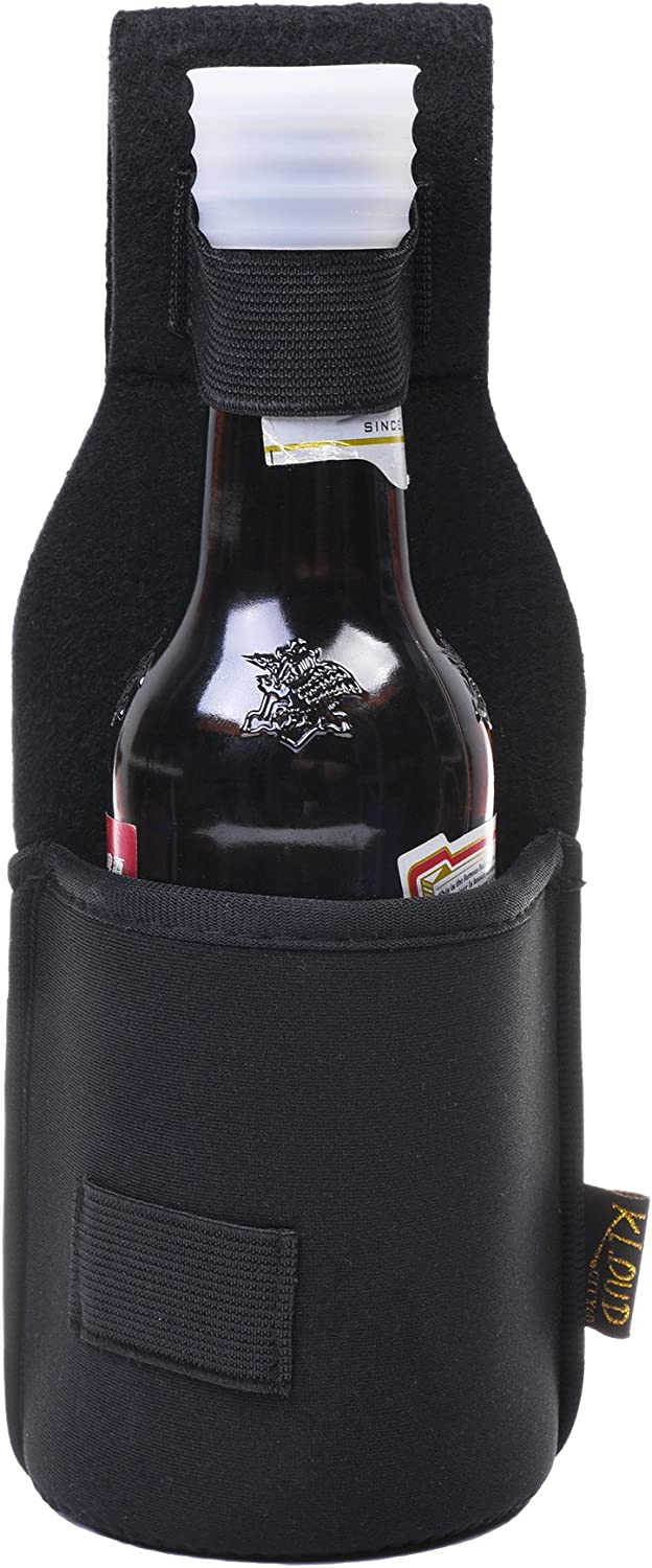 Beautyflier Outdoor Drink Hip Holster Handmade Neoprene Single Bottle Can Beverage Holder Black