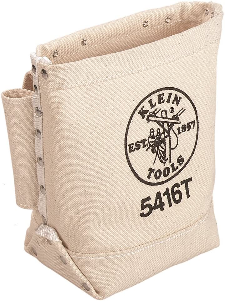 Klein Tools 5416T Tool Bag, Bull-Pin and Bolt Pouch, No. 4 Canvas with Tunnel Connection, 5 x 10 x 9-Inch - -