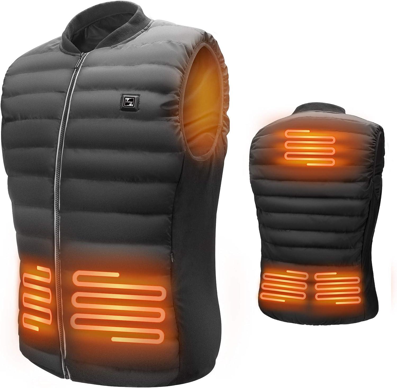 Lyeiaa Beheizte Weste f/ür Herren Damen Waschbare Warme Heat Jacke mit 3 Fakultativ Temperatur,f/ür Outdoor Sports Wandern Jagd Motorrad Camping Elektrische Beheizte Jacke mit USB-Lade Heizweste