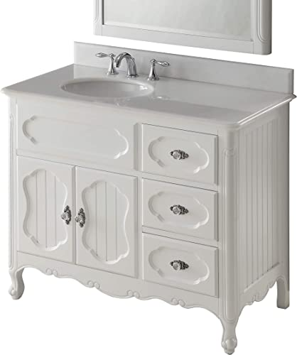 Chans Furniture 42 Benton Collection Victorian Cottage Style White Knoxville Bathroom Sink Vanity GD-1509W-42