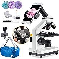 Microscope 100X-2000X Compound Monocular Microscopes with Mechanical Platform, Dual Illumination,Smartphone Holder, 10…