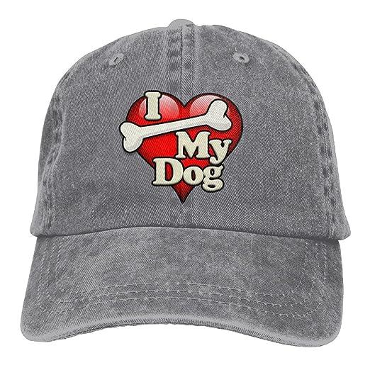 Amazon.com  Arsmt I Love My Dog Denim Hat Adjustable Women Baseball ... 9fbaad2ce