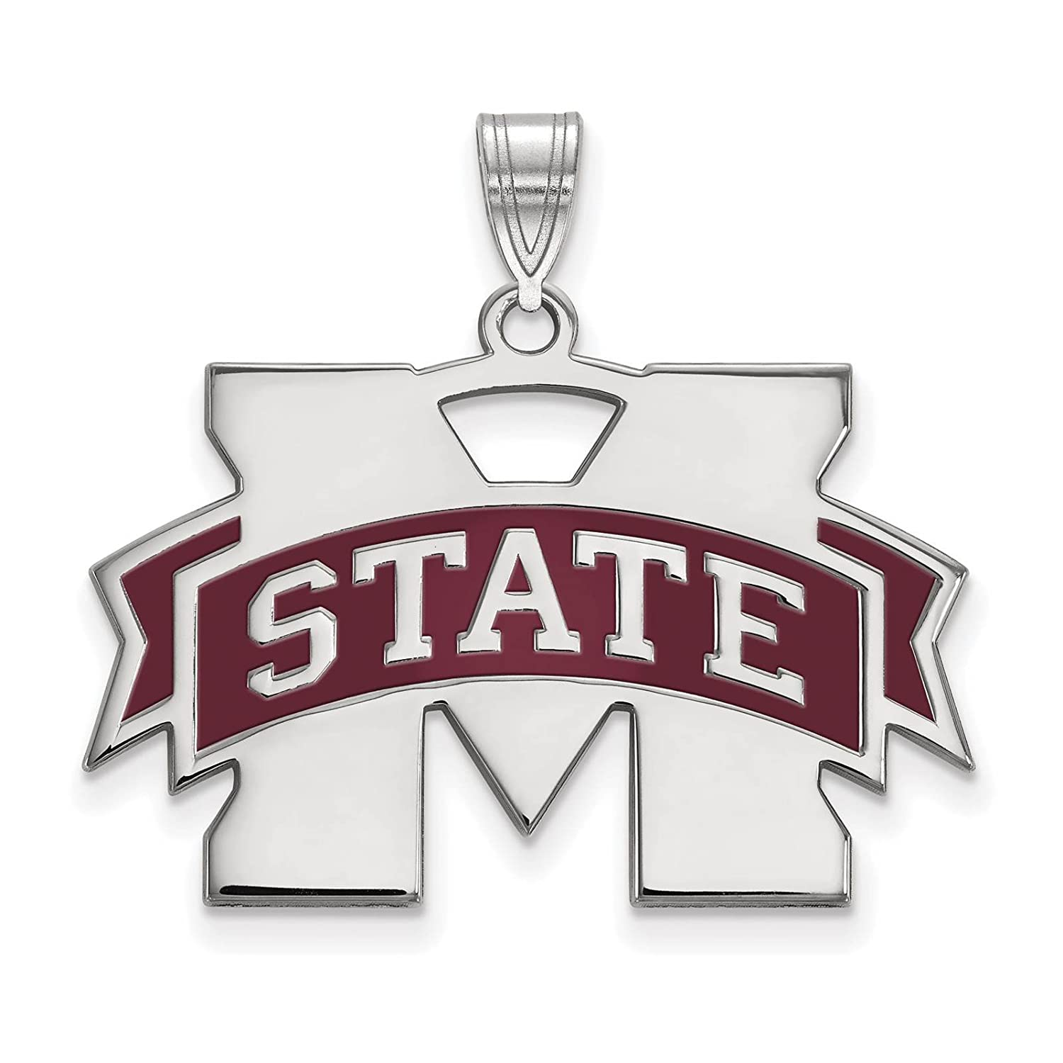 925 Sterling Silver Rhodium-plated Laser-cut Mississippi State University Large Enameled Pendant