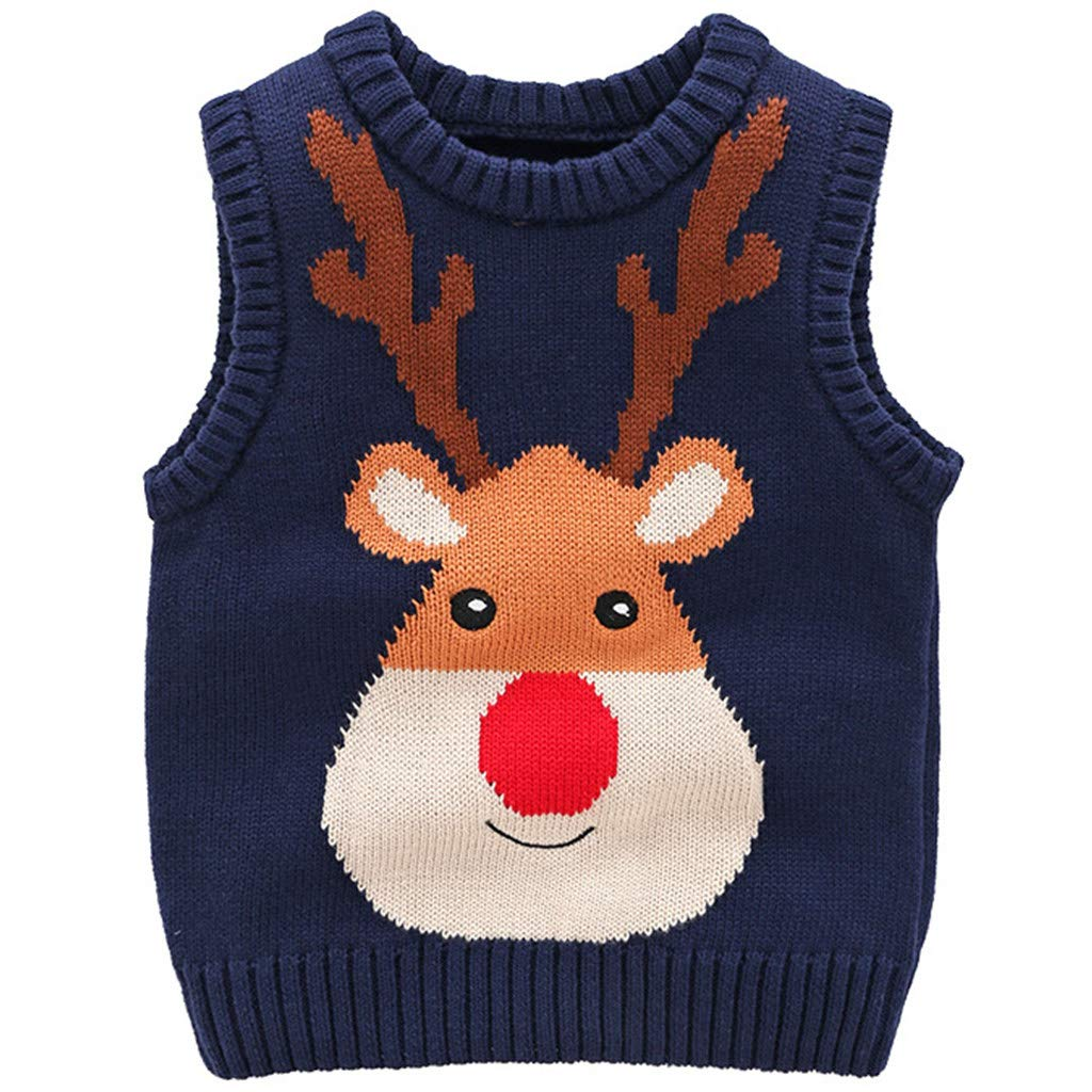 JiAmy Enfant Noël Pull Tricoté Sweat-shirt Gilet Sans Manches Cerf Tenues Rouge 2-3 Ans Ltd