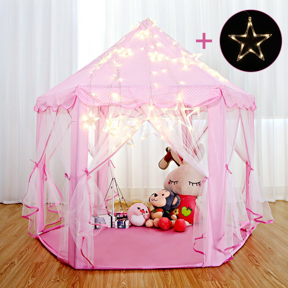 Arkmiido Play Tent for Girls, Children' s Playhouse Princess Castle Gifts Toys for 2 3 4 5 6 7 Year Old Little Girls