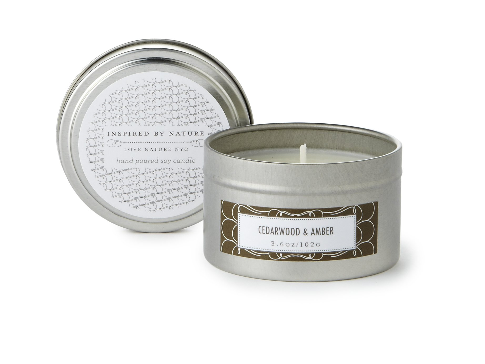 LOVE NATURE NYC Natural Soy Candle Tin, Cedarwood Amber Scented, Clean Burning Non-Toxic, Fragrance Notes of Cedarwood, Amber, Sandalwood, Musk, Bergamot and Lavender, 25-30 Hours