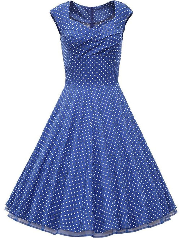 YingLuo Appliques Beaded One-Shoulder Gowns Chiffon Long Evening Dress UK-12 Blue Polka Dot