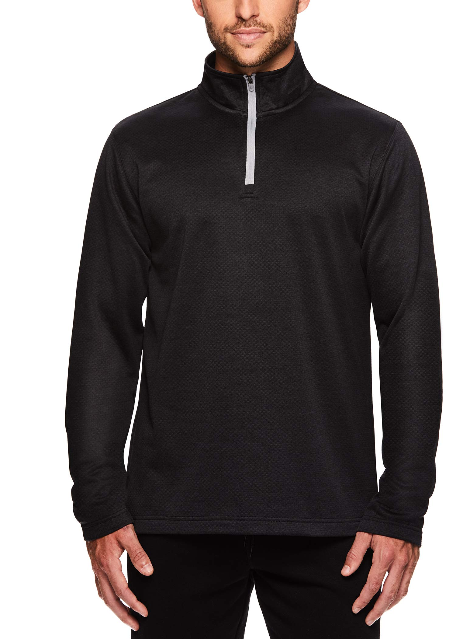 HEAD Men's 1/4 Zip Up Activewear Pullover Jacket - Long Sleeve Running & Workout Sweater - Showtime Black Heather, Small