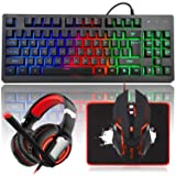 MFTEK RGB Rainbow Backlit Gaming Keyboard and Mouse Combo, LED PC Gaming Headset with Microphone, Large Mouse Pad, Small Compact 87 Keys USB Wired Mechanical Feeling Keyboard for Computer Gamer Office (Color: Keyboard+Mouse+Headset)