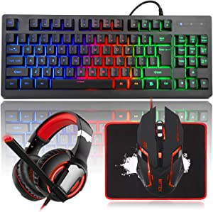 MFTEK RGB Rainbow Backlit Gaming Keyboard and Mouse Combo, LED PC Gaming Headset with Microphone, Large Mouse Pad, Small Compact 87 Keys USB Wired Mechanical Feeling Keyboard for Computer Gamer Office