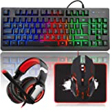 MFTEK RGB Rainbow Backlit Gaming Keyboard and Mouse Combo, LED PC Gaming Headset with Microphone, Large Mouse Pad, Small…