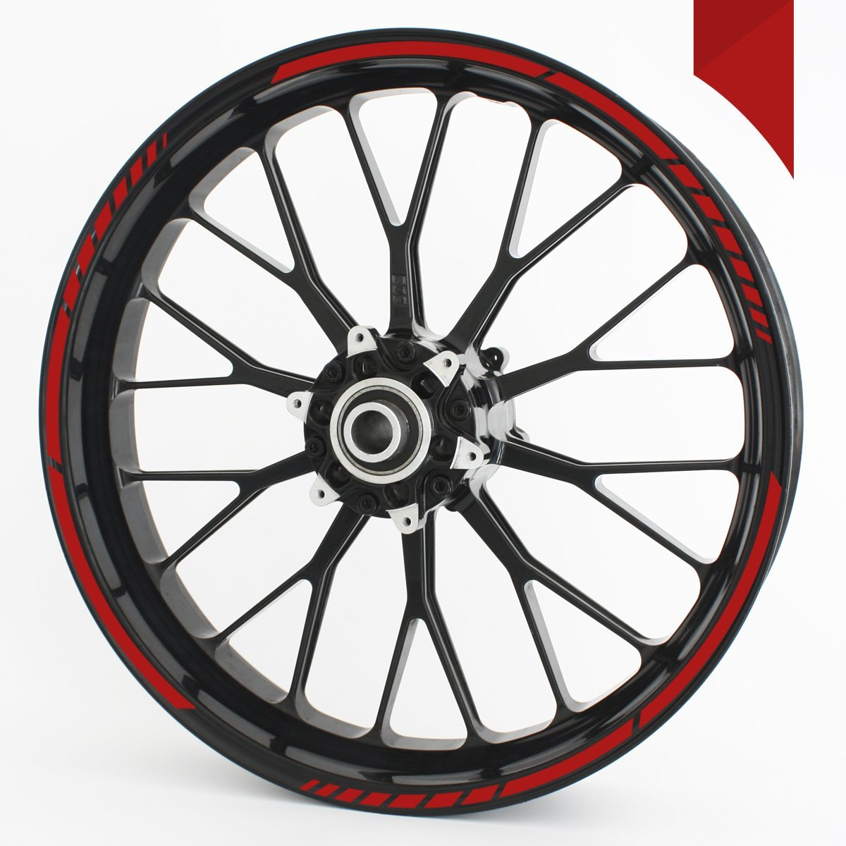 Wandkings GP wheel rim sticker for 15'', 16'', 17'', 18'' and 19'' Motorcycle & Car Wheels - colour selectable - RED