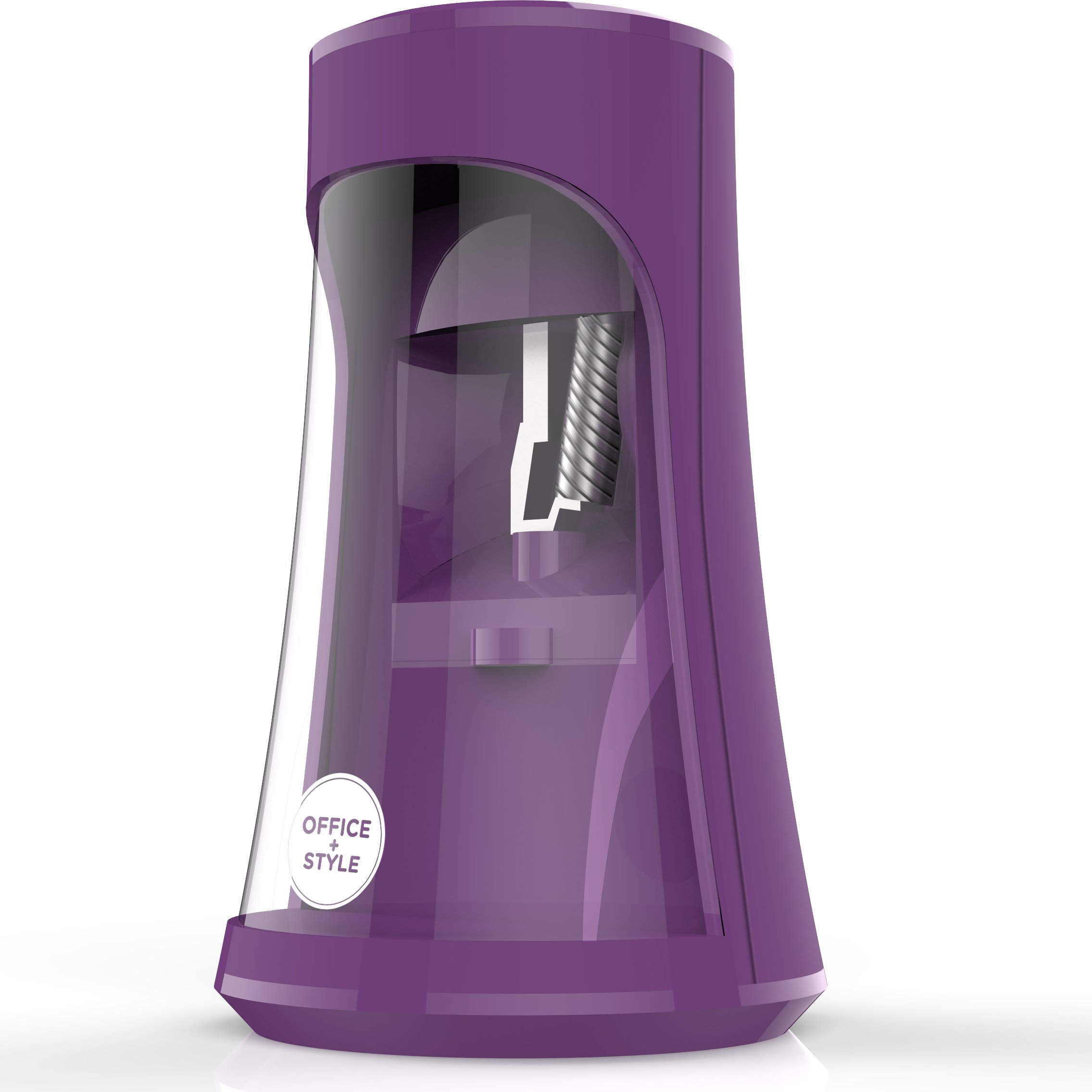 Fully Automatic Electronic Pencil Sharpener With Auto Stop Safety Feature For Home, Office or Classroom, - Purple- By Office + Style