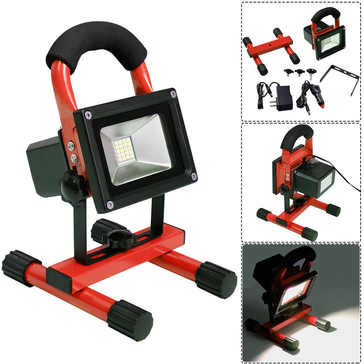 Red Portable 10W Cordless Work Light Rechargeable LED Flood Spot Camping Lamp