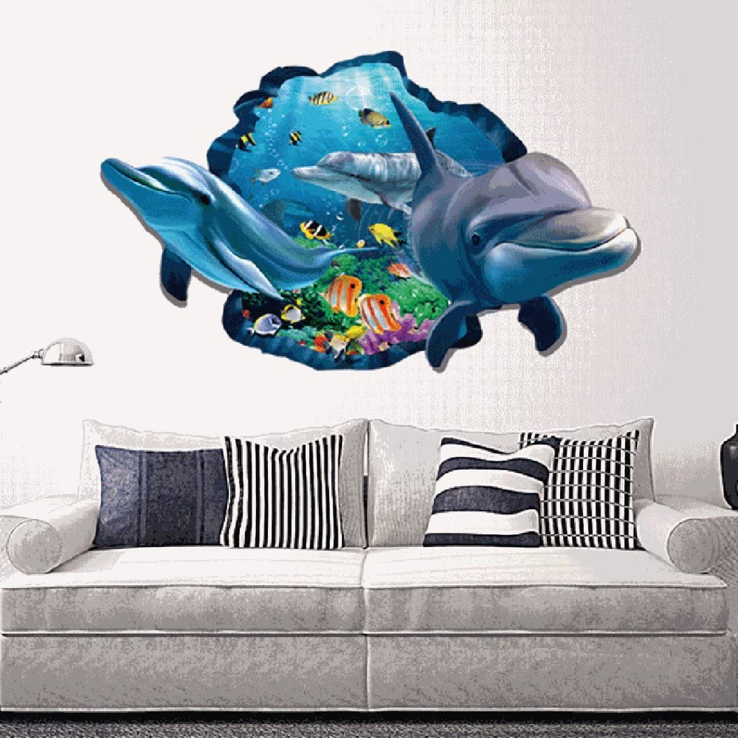 3D Ocean World Dolphins Home Mural Decals Decor Kids Room Removable Wall Sticker