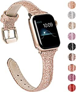 Wearlizer Rose Gold Leather Compatible with Apple Watch Bands Series 6 5 4 44mm Series 3 42mm for iWatch SE Womens Shiny Slim Smooth Wristband Bling Glitter Strap (Gold Clasp) for Series 2 1 Sport