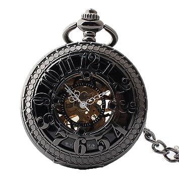 Easy Go Shopping Reloj de Bolsillo Arabia Reloj de Bolsillo mecánico Digital Boutique Negro Retro Reloj de Bolsillo Ahuecado con Cadena: Amazon.es: ...